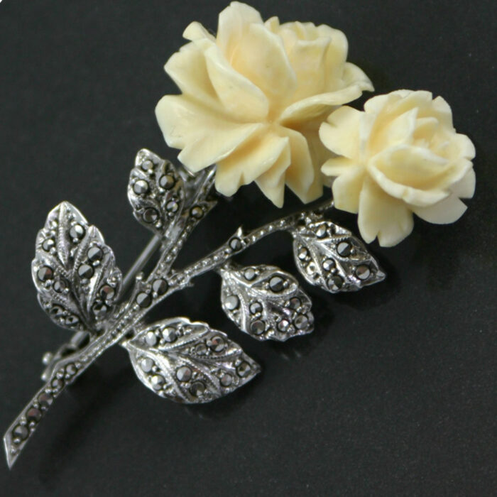 Art Deco Swiss Celluloid Flower Brooch circa 1930`s