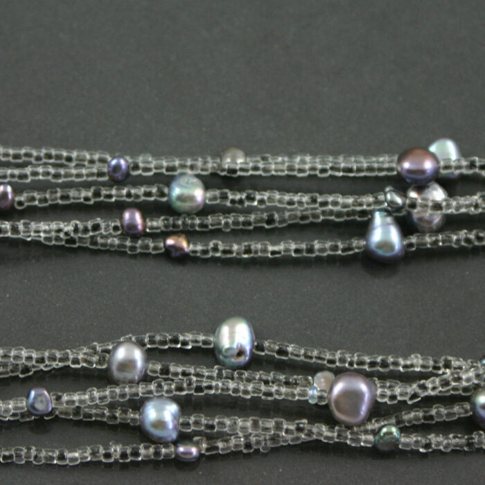 Multi strand tahitian pearl flapper necklace