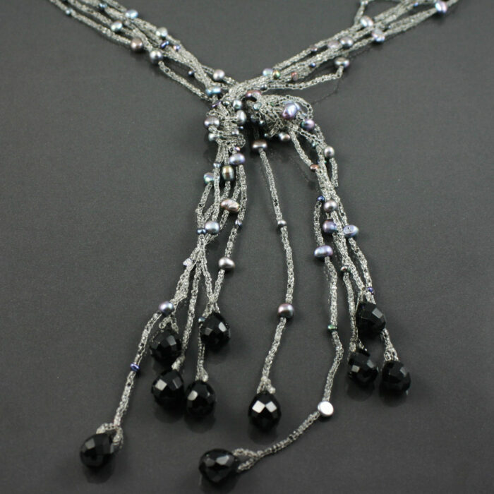 Tahitian pearl flapper necklace
