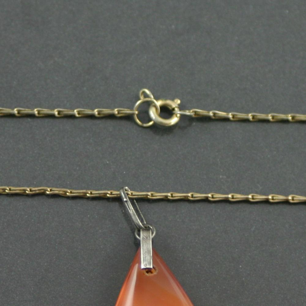 Teardrop carnelian agate pendant 1960s Jewelr