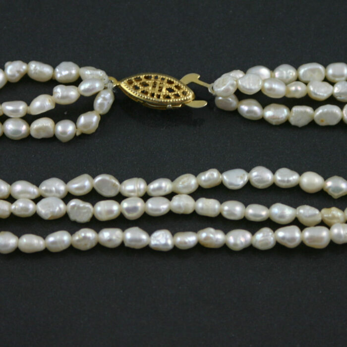 Three strand barque pearl necklace 1960s