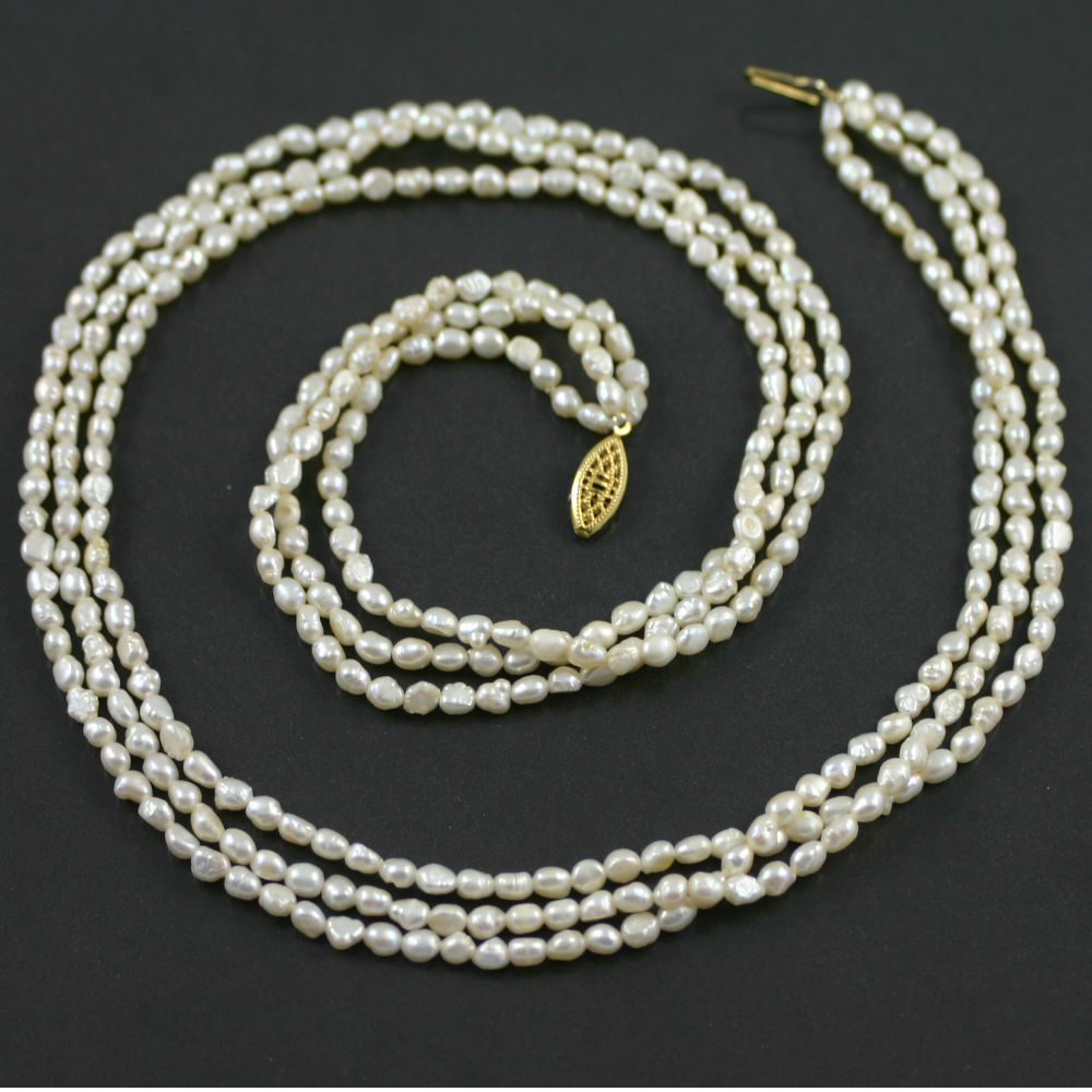 Three strand barque pearl necklace circa 1960s