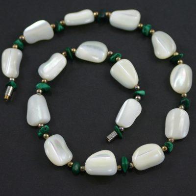 White agate and malachite necklace circa 1940s jewellery
