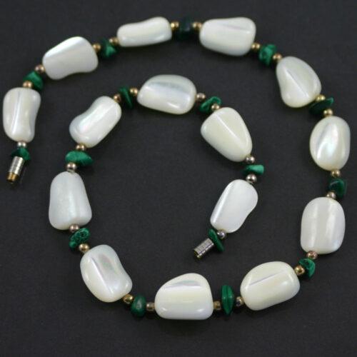White agate and malachite necklace circa 1950s jewellery