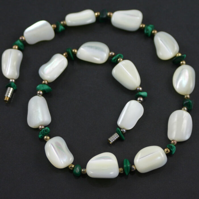 White agate and malachite necklace circa 1950s jewellery