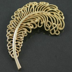 trifari ostrich feather brooch circa 1950`s costume jewellery