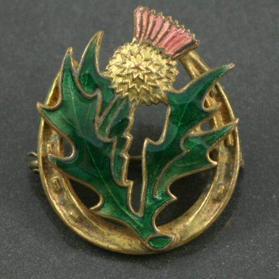 Art Deco Enamel thistle brooch circa 1930s