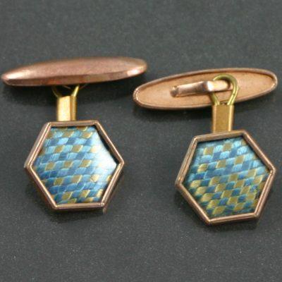 Art Deco Hexagonal Cufflinks circa 1920`s