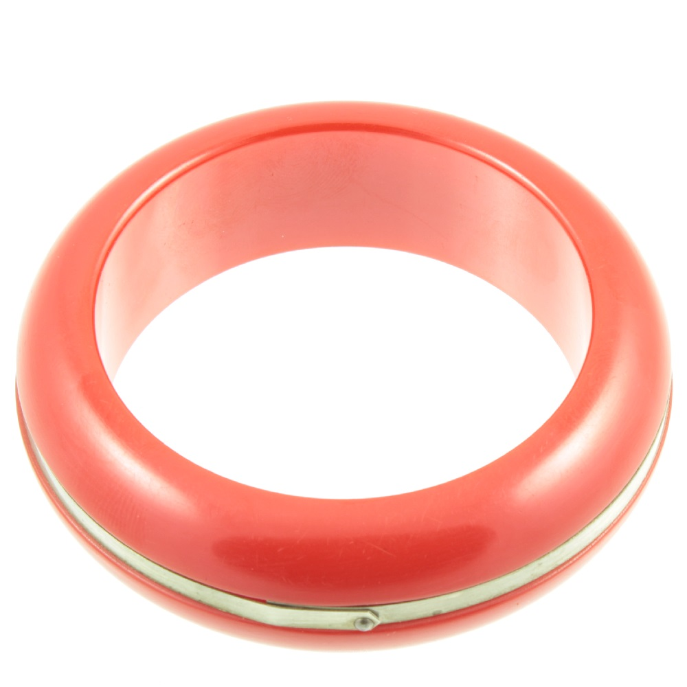 Cherry red bakelite bangle - top view