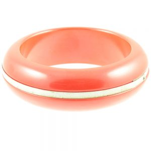 Cherry red bakelite bangle - side view