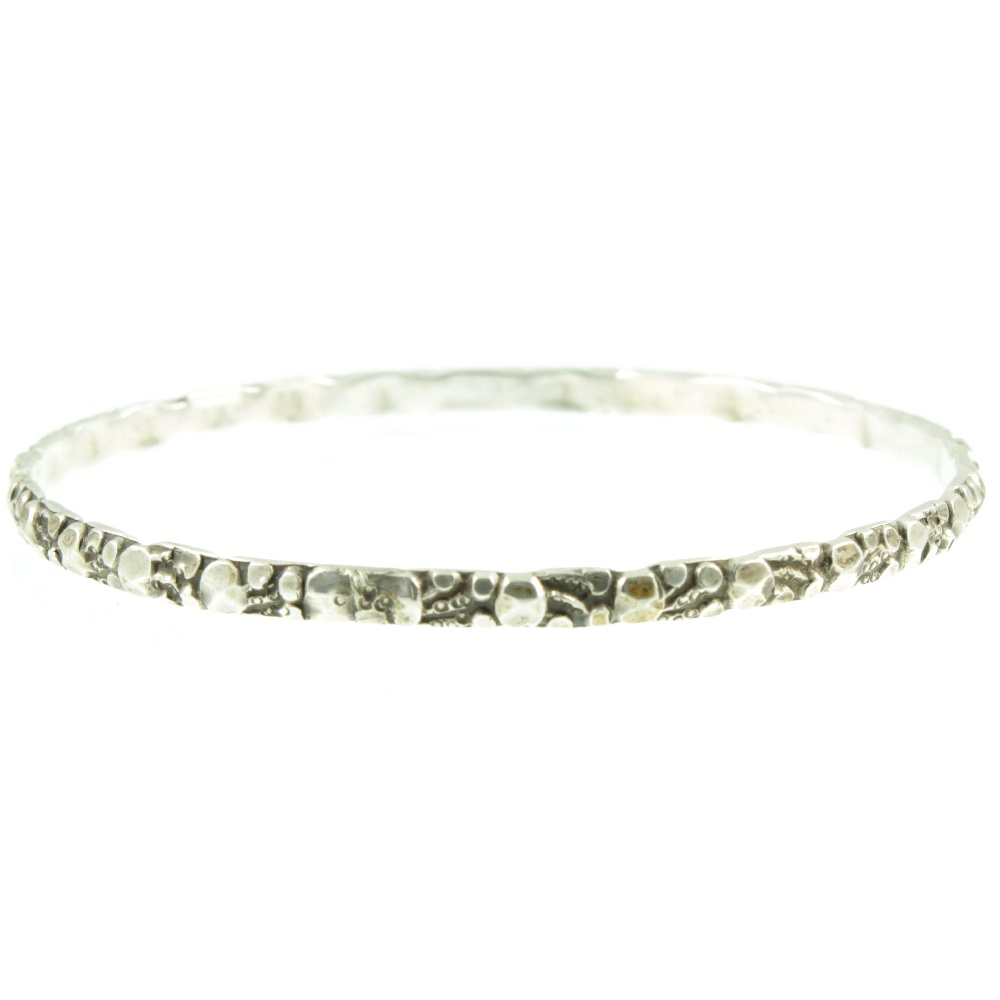 Elaborate raised relief Silver Bangle - front view