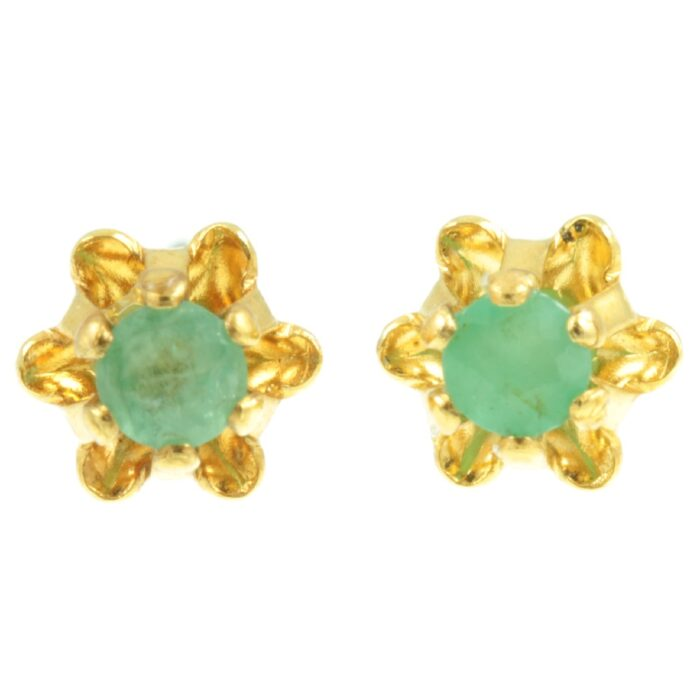 Emerald stud earrings - front view