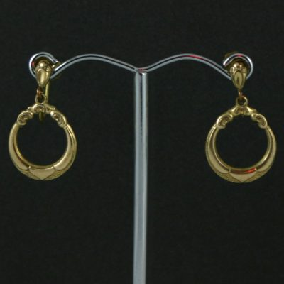 Gold Tone Hoop screw back earrings circa 1970s