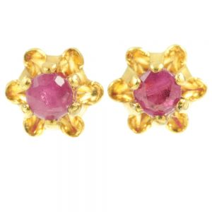 Ruby Stud Earrings - front view