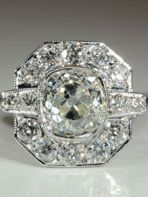 Art Deco period jewellery diamond engagement ring