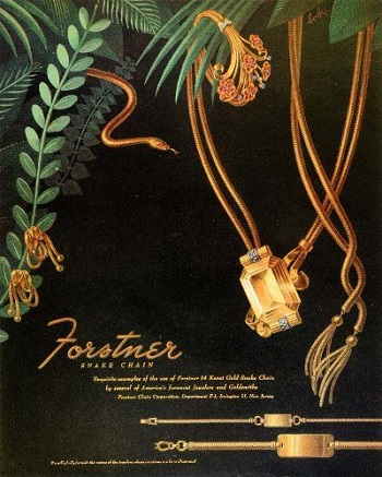 Retro Jewellery - Gold Snake Chain Ad