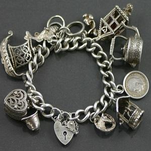 Silver-Charm-Bracelet - 1950s jewellery