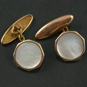 Art Deco Mother of pearl torpedo cufflinks
