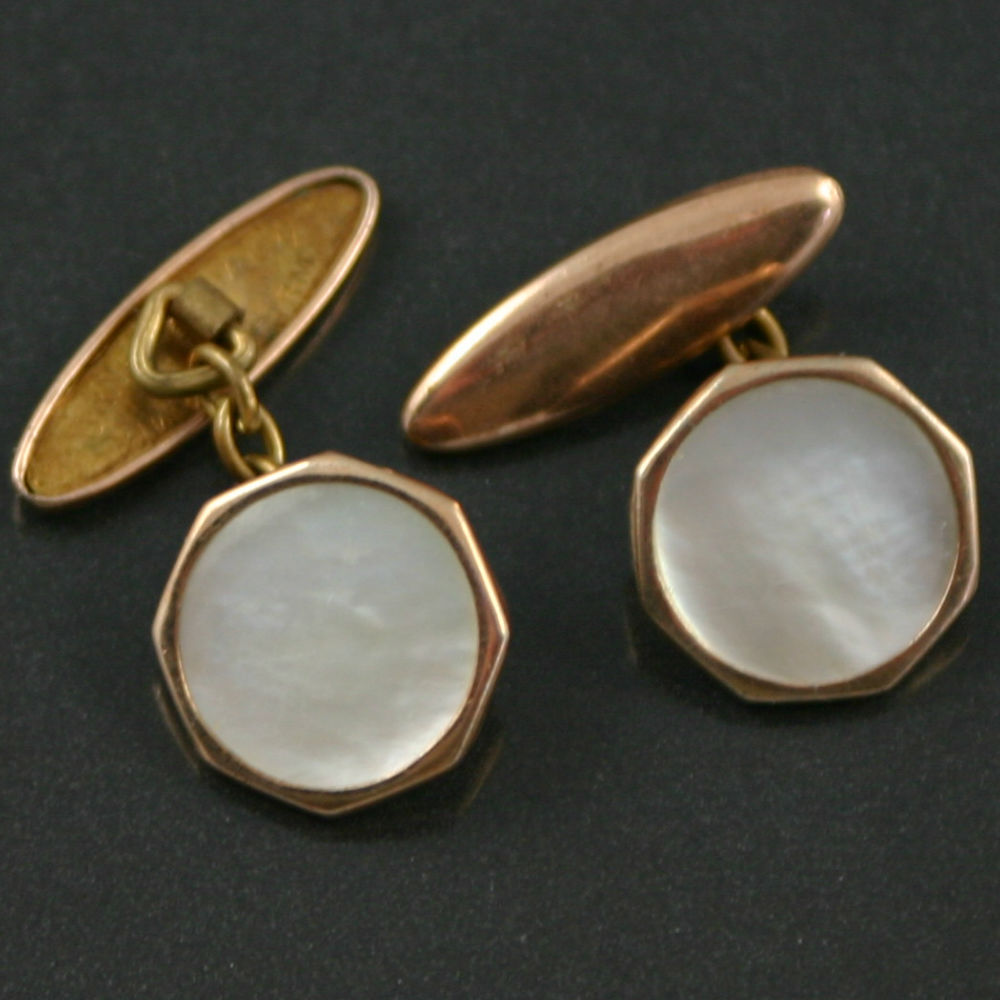 Art Deco Mother of pearl torpedo cufflinks