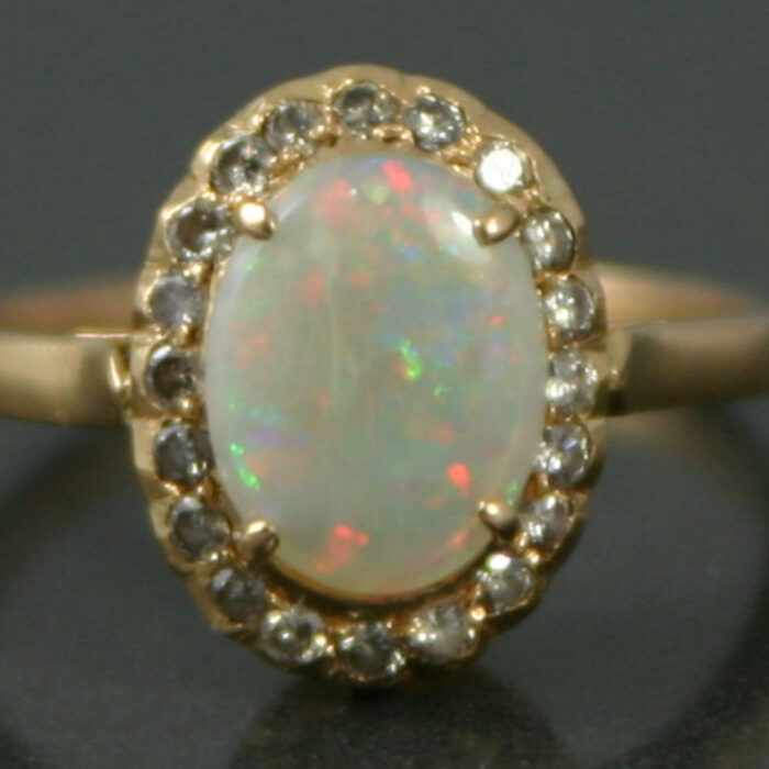 opal and diamond dress ring