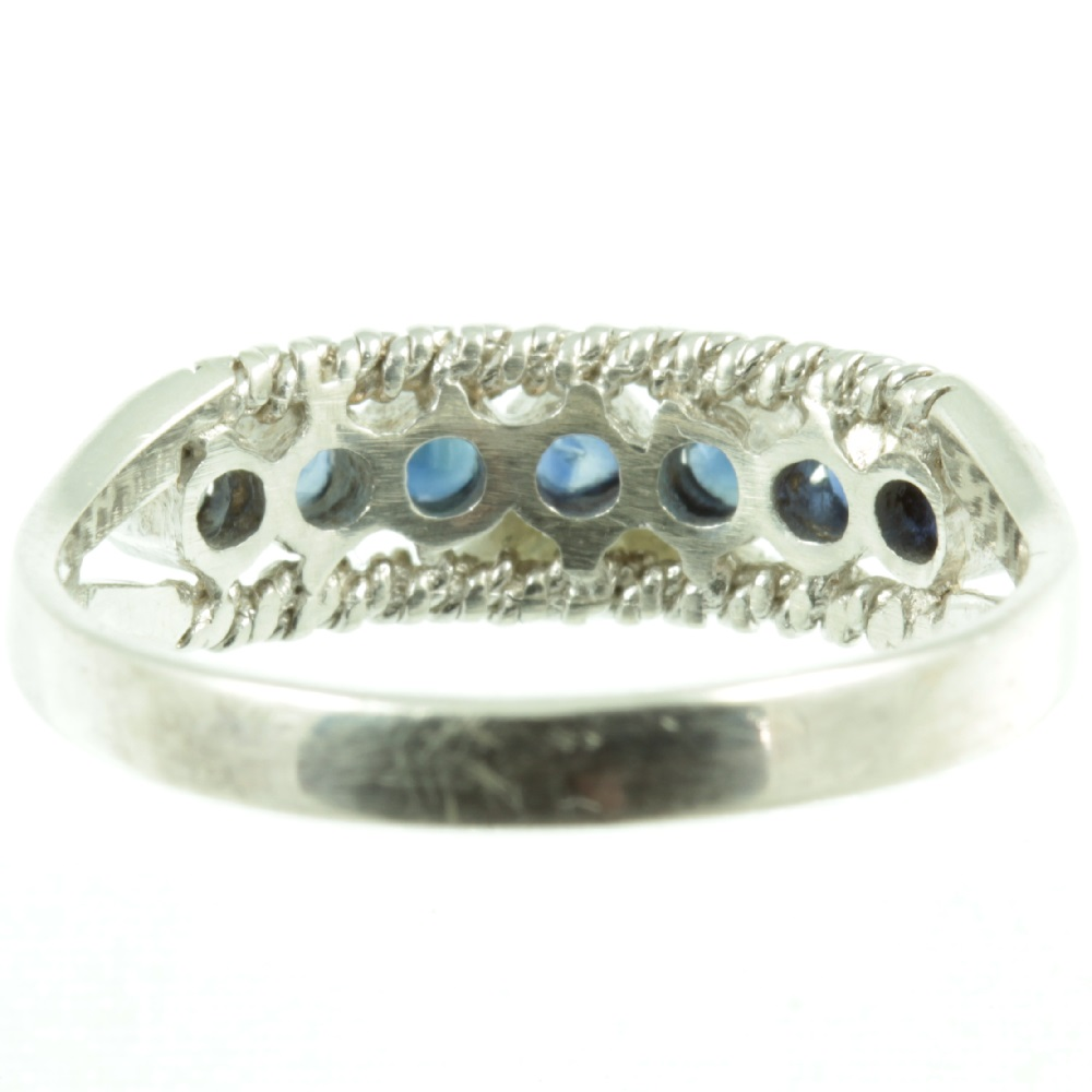 Seven stone sapphire ring - inside view