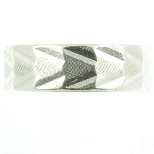 Silver patterned ring - front view