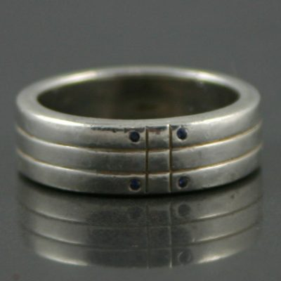 Sterling Silver and Sapphire mens ring band