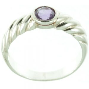 Sterling silver amethyst ring - top view