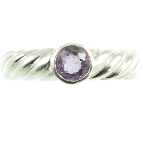 Sterling silver amethyst ring - front view