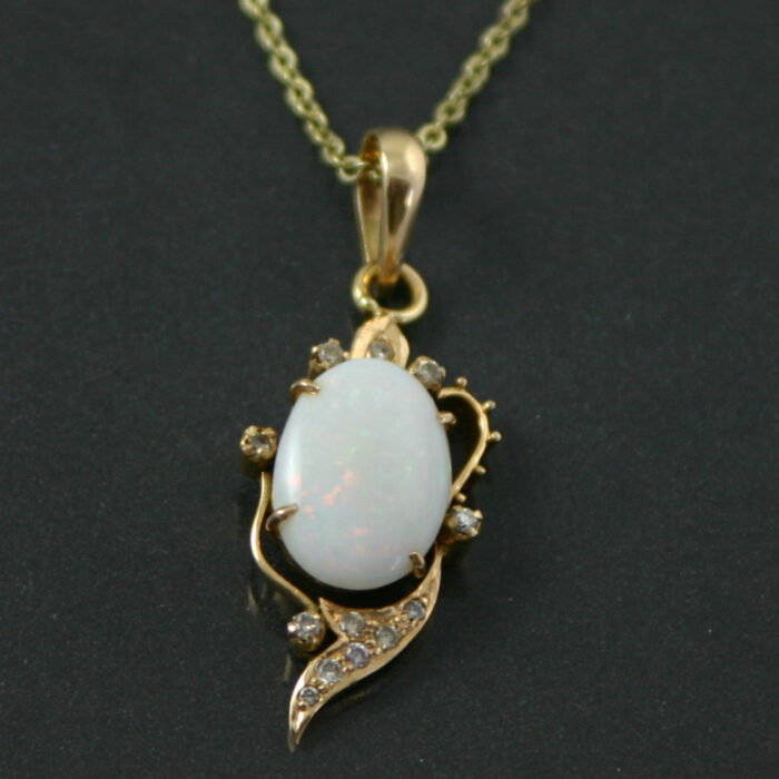 cabochon opal and diamond pendant necklace