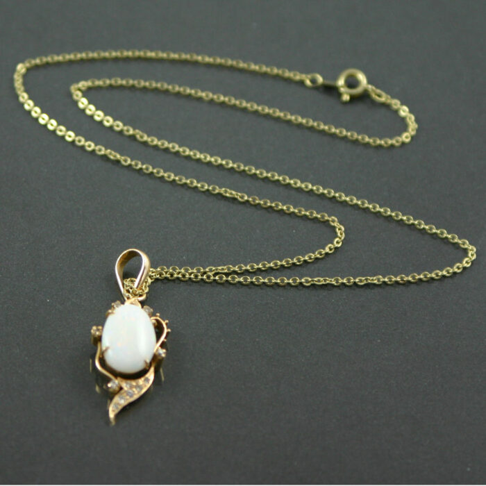 cabochon opal and diamond pendant necklace in 18ct gold
