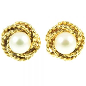 18ct gold Pearl Earrings - front view