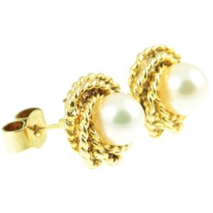 18ct gold Pearl Earrings - side view