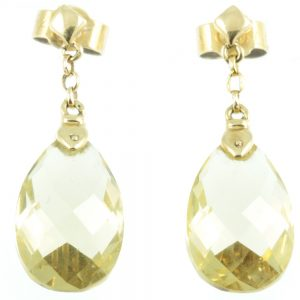 1950s Citrine Drop Earrings - front view