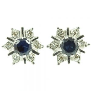 1950s Sapphire and Diamond Earrings - front view