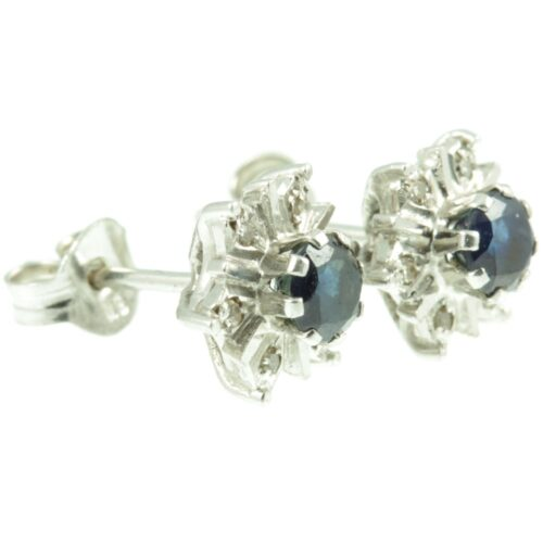 1950s Sapphire and Diamond Earrings - side view