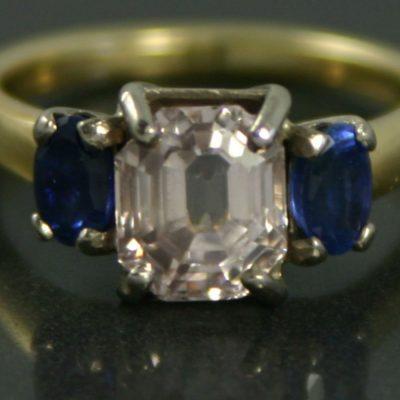Art Deco Three Stone Sapphire Ring