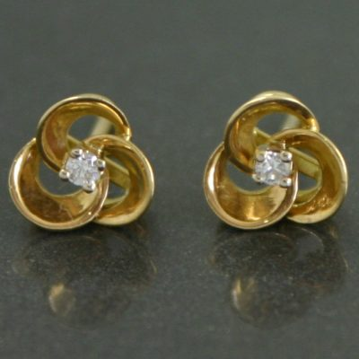 Diamond Floral Stud Earrings 1950s