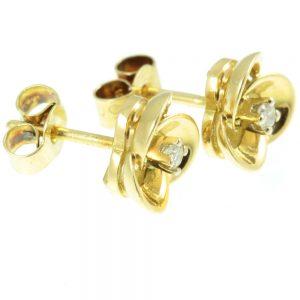 Diamond Floral Stud Earrings - side view