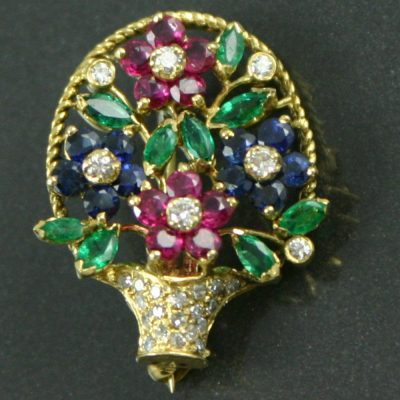 Diamond & Gemstone Giardinetti Basket pendant / Brooch