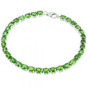 Diopside Sterling Silver Bracelet - top view