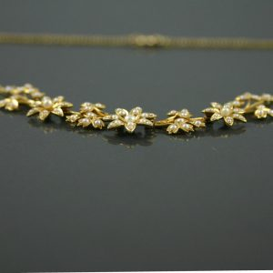 Edwardian 15ct gold seed pearl necklace