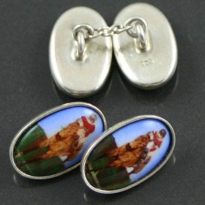 Enamel horse and jockey cufflinks