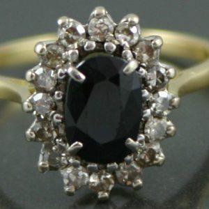 Mid-Century Sapphire & Diamond Ring