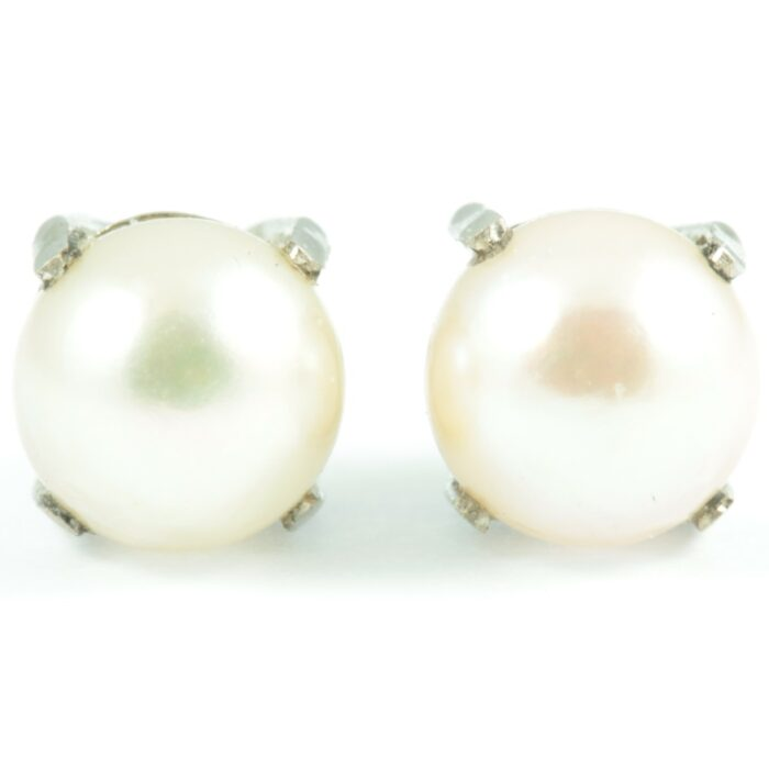 Natural Pearl Stud Earrings - front view