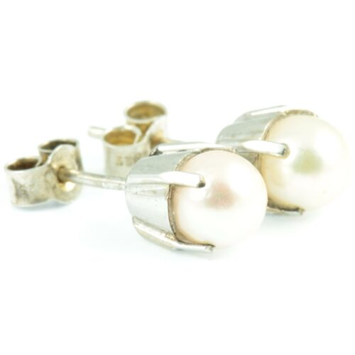 Natural Pearl Stud Earrings - side view