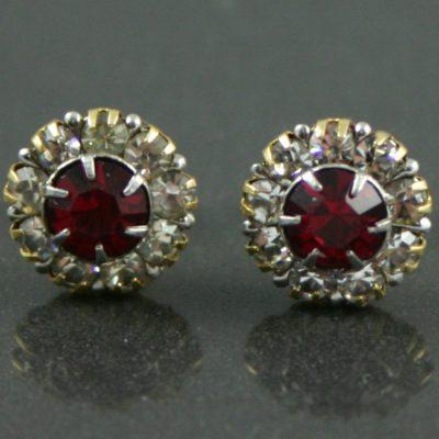 Ruby & Diamond Stud Earrings 1940s Jewellery