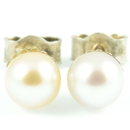 Sterling Silver Pearl Earrings - front view