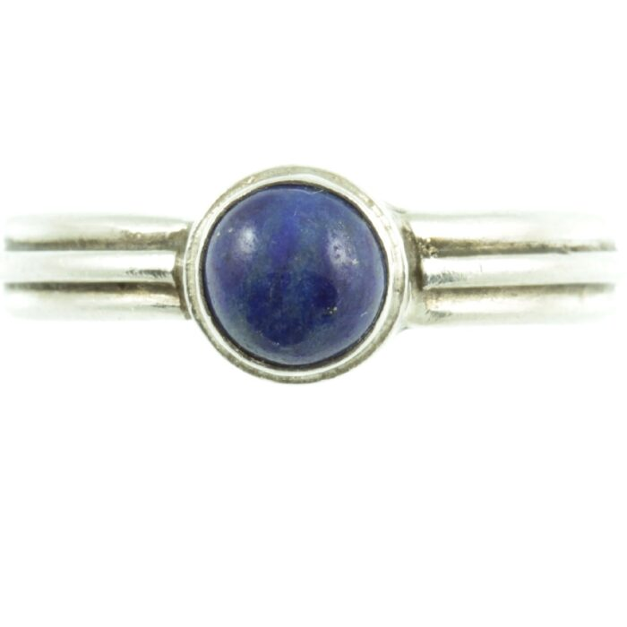 Sterling silver and lapis ring - front view