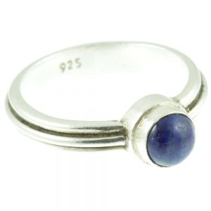 Sterling silver and lapis ring - side view